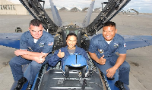 Leeann in the cockpit of the Number 7; Blue Angels flight in 2005