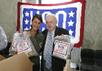 Leeann stuffing care packages on Capitol Hill with Congressman Howard Coble